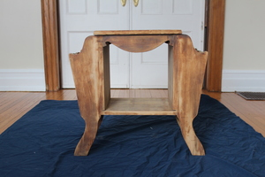 "The starting point: an ""eh"" end table."