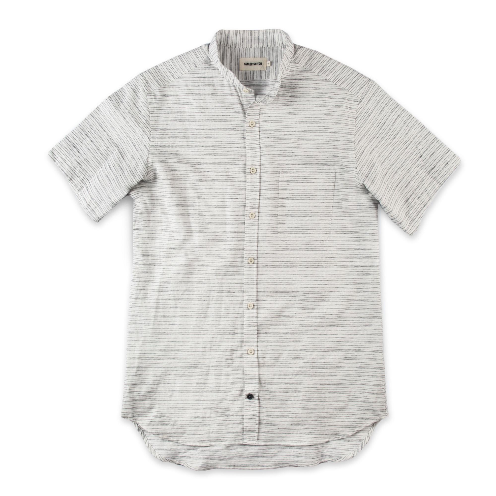 e2bf616d The Short Sleeve Bandit, White & Navy Slub Stripe | Bespoke Post