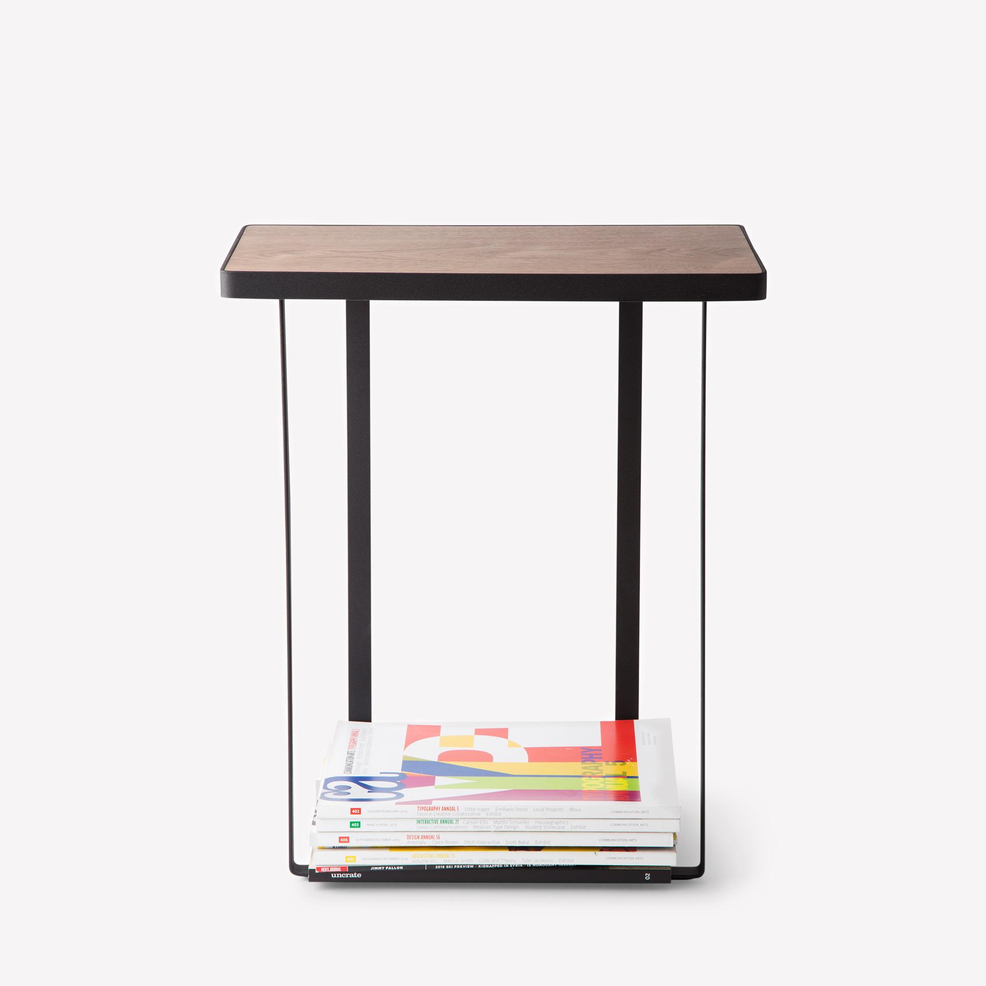 Black Steel & Wood Table with Magazine Holder